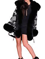 Недорогие -Жен. Повседневные Зима Длинная Пальто, Однотонный Капюшон Длинный рукав Хлопок / Полиэстер Черный / Серый