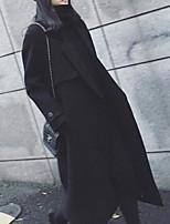 Недорогие -Жен. Повседневные Зима Длинная Пальто, Однотонный Приподнятый круглый Длинный рукав Полиэстер Черный / Розовый / Тонкие