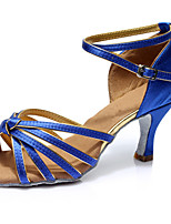 Недорогие -Жен. Танцевальная обувь Сатин Обувь для латины На каблуках Тонкий высокий каблук Персонализируемая Синий / Выступление