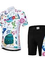 Недорогие -WEIMOSTAR Цветочные ботанический Мальчики Девочки С короткими рукавами Велокофты и велошорты - Детские Белый Велоспорт Наборы одежды Дышащий Влагоотводящие Быстровысыхающий Виды спорта Эластан Терилен