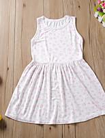 Недорогие -Дети Дети (1-4 лет) Девочки Классический Белый С сердцем С принтом Без рукавов До колена Платье Белый