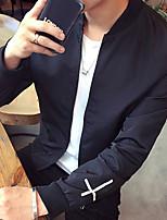 Недорогие -Муж. Спорт Весна & осень Обычная Куртка, Геометрический принт Воротник-стойка Длинный рукав Полиэстер Черный