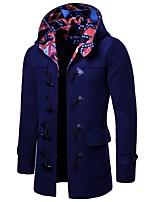 Недорогие -Муж. Повседневные Размер ЕС / США Длинная Пальто, Однотонный Капюшон Длинный рукав Полиэстер Черный / Темно синий / Серый