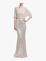 cheap -Mermaid / Trumpet One Shoulder Sweep / Brush Train Sequined Sparkle & Shine Formal Evening Dress with Sequin by LAN TING Express
