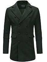 Недорогие -Муж. Повседневные Длинная Пальто, Однотонный Отложной Длинный рукав Полиэстер Черный / Серый / Военно-зеленный