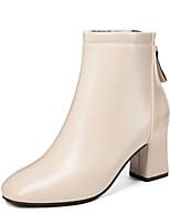 Недорогие -Жен. Ботинки На толстом каблуке Круглый носок Полиуретан Сапоги до середины икры Минимализм Осень Черный / Миндальный