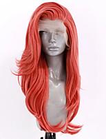 Недорогие -Синтетические кружевные передние парики Волнистый Стиль Боковая часть Лента спереди Парик Розовый Оранжевый Искусственные волосы 20-26 дюймовый Жен. Регулируется Жаропрочная Для вечеринок Розовый