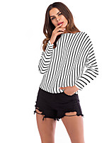 cheap -Women's T-shirt Striped Long Sleeve Round Neck Tops Loose Basic Basic Top White Black Red