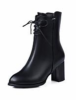 Недорогие -Жен. Ботинки На толстом каблуке Круглый носок Полиуретан Наступила зима Черный