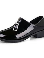 Недорогие -Жен. Ботинки На толстом каблуке Круглый носок Полиуретан Лето Черный / Винный