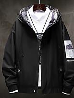 Недорогие -Муж. Повседневные Осень / Наступила зима Размер ЕС / США Обычная Куртка, Однотонный Капюшон Длинный рукав Полиэстер Черный / Бежевый