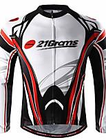 Недорогие -21Grams Муж. Длинный рукав Велокофты Красный / Белый Велоспорт Джерси Верхняя часть Устойчивость к УФ Дышащий Влагоотводящие Виды спорта 100% полиэстер Горные велосипеды Шоссейные велосипеды Одежда