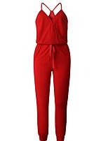 Недорогие -Жен. Уличный стиль Черный Синий Красный Комбинезоны, Однотонный Пэчворк S M L