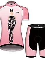 Недорогие -21Grams Одри Хепберн Жен. С короткими рукавами Велокофты и велошорты - Розовый Велоспорт Наборы одежды Дышащий Влагоотводящие Быстровысыхающий Виды спорта 100% полиэстер Горные велосипеды Одежда