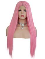 Недорогие -Синтетические кружевные передние парики Прямой Стиль Свободная часть Лента спереди Парик Розовый Розовый Искусственные волосы 18-26 дюймовый Жен. Мягкость Эластичный Женский Розовый Парик Длинные