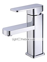 cheap -Bathroom Sink Faucet - Standard Chrome / Painted Finishes Centerset Single Handle One HoleBath Taps / Brass