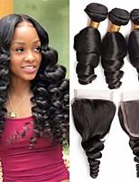 Недорогие -3 комплекта с закрытием Бразильские волосы Свободные волны Натуральные волосы Необработанные натуральные волосы Головные уборы Человека ткет Волосы Удлинитель 8-20 дюймовый Естественный цвет
