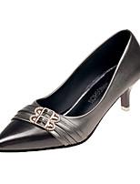 Недорогие -Жен. Обувь на каблуках На шпильке Заостренный носок Полиуретан / Синтетика Осень Черный / Черный и золотой / Бежевый
