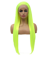 Недорогие -Синтетические кружевные передние парики Прямой Стиль Свободная часть Лента спереди Парик флуоресцентный зеленый Искусственные волосы 18-26 дюймовый Жен. Мягкость Эластичный Женский Зеленый Парик / Да