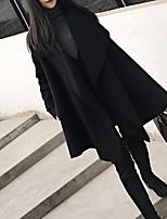 Недорогие -Жен. Повседневные Длинная Пальто, Однотонный Рубашечный воротник Длинный рукав Полиэстер Черный