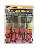 Недорогие -автомобильные привязные веревки грузовые ремни 25 мм шириной 15 футов 5 т крепеж прицепа - 4 шт. / компл.