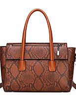 cheap -Women's Zipper PU Top Handle Bag Solid Color Black / Brown / Wine