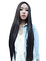 Недорогие -Парики из искусственных волос Естественный прямой Стиль Стрижка каскад Без шапочки-основы Парик Черный Черный Искусственные волосы 72~75 дюймовый Жен. Новое поступление Черный Парик Очень длинный