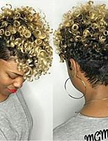 Недорогие -Парики из натуральных волос на кружевной основе Естественные кудри Стиль Средняя часть Без шапочки-основы Парик Золотистый Черный и золотой Искусственные волосы 6 дюймовый Жен. Женский Золотистый