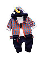 Недорогие -Дети (1-4 лет) Мальчики Классический Мультипликация Пэчворк С короткими рукавами Обычный Обычная Набор одежды Черный
