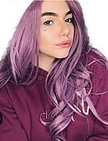 Недорогие -Синтетические кружевные передние парики Волнистый Стиль Средняя часть Лента спереди Парик Фиолетовый Искусственные волосы 18-26 дюймовый Жен. Регулируется Жаропрочная Для вечеринок Фиолетовый Парик