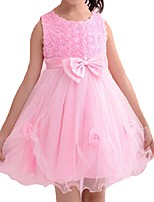 Недорогие -Дети Дети (1-4 лет) Девочки Активный Классический Однотонный Цветочный принт Кружева Бант Без рукавов До колена Платье Белый