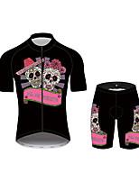 Недорогие -21Grams Сахарный череп Жен. С короткими рукавами Велокофты и велошорты - Розовый Велоспорт Наборы одежды Дышащий Влагоотводящие Быстровысыхающий Виды спорта 100% полиэстер Горные велосипеды Одежда