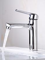 Недорогие -Ванная раковина кран - Широко распространенный Электропокрытие По центру Одной ручкой одно отверстиеBath Taps