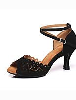 """Недорогие -Жен. Замша Обувь для латины На каблуках Каблук """"Клеш"""" Черный"""