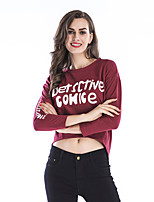 cheap -Women's Daily Cropped Sweatshirt Letter Basic Hoodies Sweatshirts  Loose White Black Wine