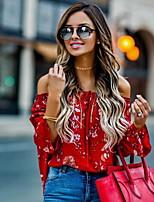 Недорогие -Жен. Блуза Цветочный принт Красный