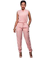 Недорогие -Жен. Активный / Уличный стиль Розовый Серый Комбинезоны, Однотонный Открытая спина / Аппликация / Пэчворк S M L