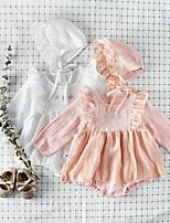 Недорогие -3 предмета малыш Девочки Активный / Уличный стиль Белый Однотонный Пайетки Длинный рукав Bodysuit Белый