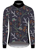 Недорогие -21Grams Цветочные ботанический Муж. Длинный рукав Велокофты - Черный / красный Велоспорт Джерси Верхняя часть Устойчивость к УФ Дышащий Влагоотводящие Виды спорта Зима 100% полиэстер / троеборье