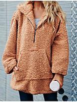 Недорогие -Жен. Повседневные Обычная Пальто, Однотонный Капюшон Длинный рукав Полиэстер Коричневый / Светло-коричневый