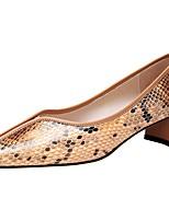 Недорогие -Жен. Обувь на каблуках На толстом каблуке Круглый носок Полиуретан Весна & осень Черно-белый / Белый и фиолетовый / Оранжевый