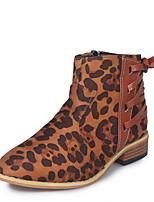 Недорогие -Жен. Ботинки На толстом каблуке Круглый носок Замша Ботинки Осень Светло-серый / Темно-коричневый / Оранжевый
