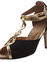 Недорогие -Жен. Нейлон Обувь для латины Планка На каблуках Тонкий высокий каблук Персонализируемая Черный и золотой