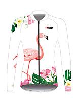 Недорогие -21Grams Фламинго Цветочные ботанический Жен. Длинный рукав Велокофты - Белый Велоспорт Джерси Верхняя часть Устойчивость к УФ Дышащий Влагоотводящие Виды спорта Зима 100% полиэстер / Слабоэластичная