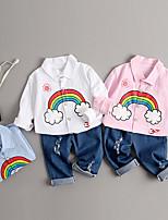 Недорогие -Дети (1-4 лет) Мальчики Классический Мультипликация Пэчворк С короткими рукавами Обычный Обычная Набор одежды Светло-синий