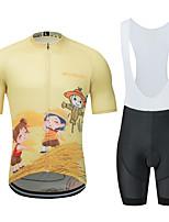 Недорогие -MUBODO Мультипликация Муж. С короткими рукавами Велокофты и велошорты-комбинезоны - Черный / желтый Велоспорт Наборы одежды Дышащий Влагоотводящие Быстровысыхающий Виды спорта Тюль / Эластичная