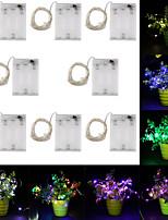 Недорогие -10 м Гирлянды 100 светодиоды Тёплый белый / RGB / Белый Творчество / Новый дизайн / Для вечеринок Аккумуляторы 8шт