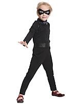 Недорогие -Супер-герои Косплэй Kостюмы Детские Девочки Хэллоуин Хэллоуин Фестиваль / праздник Спандекс Полиэфир / полиамид Черный Карнавальные костюмы / Искусственная кожа