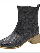 Недорогие -Жен. Ботинки На толстом каблуке Круглый носок Полиуретан Ботинки Весна & осень Черный / Темно-коричневый / Синий