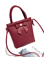 cheap -Women's Polyester / PU Top Handle Bag Solid Color Wine / Blushing Pink / Black